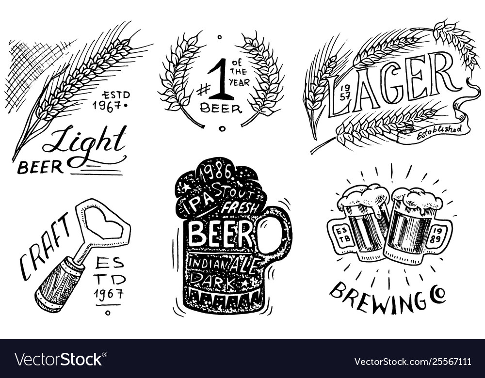 Vintage beer badge set alcoholic label