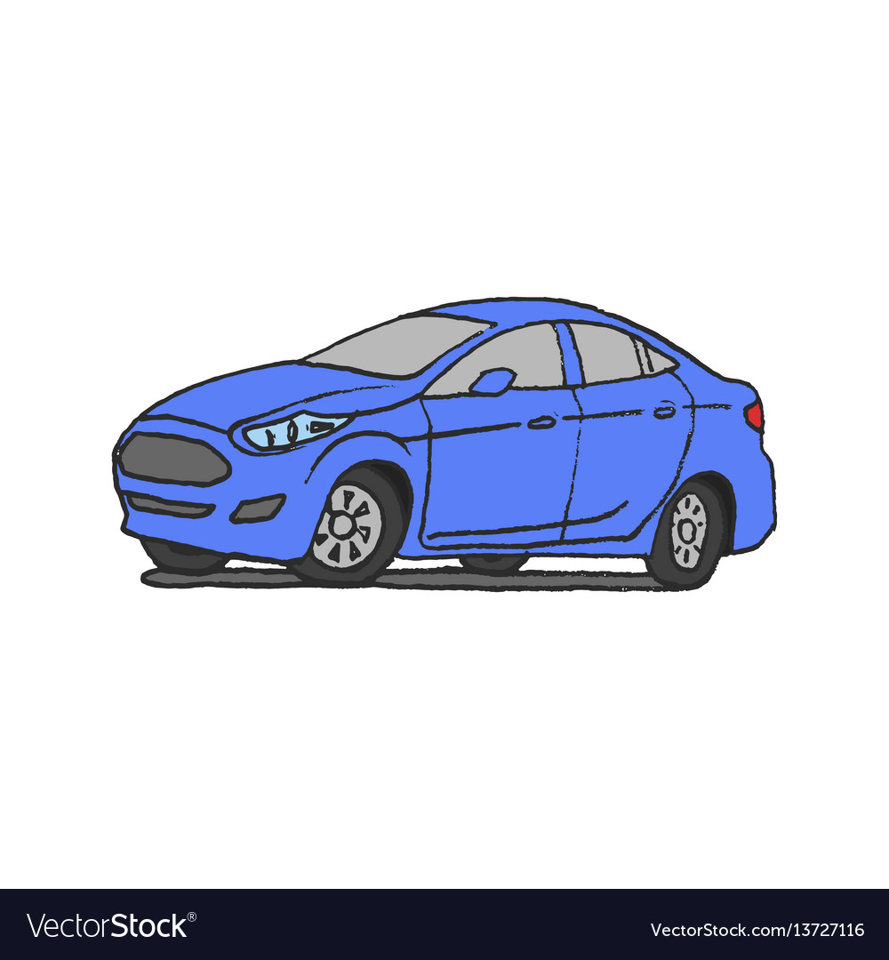Car blue doodle hand drawn vector image