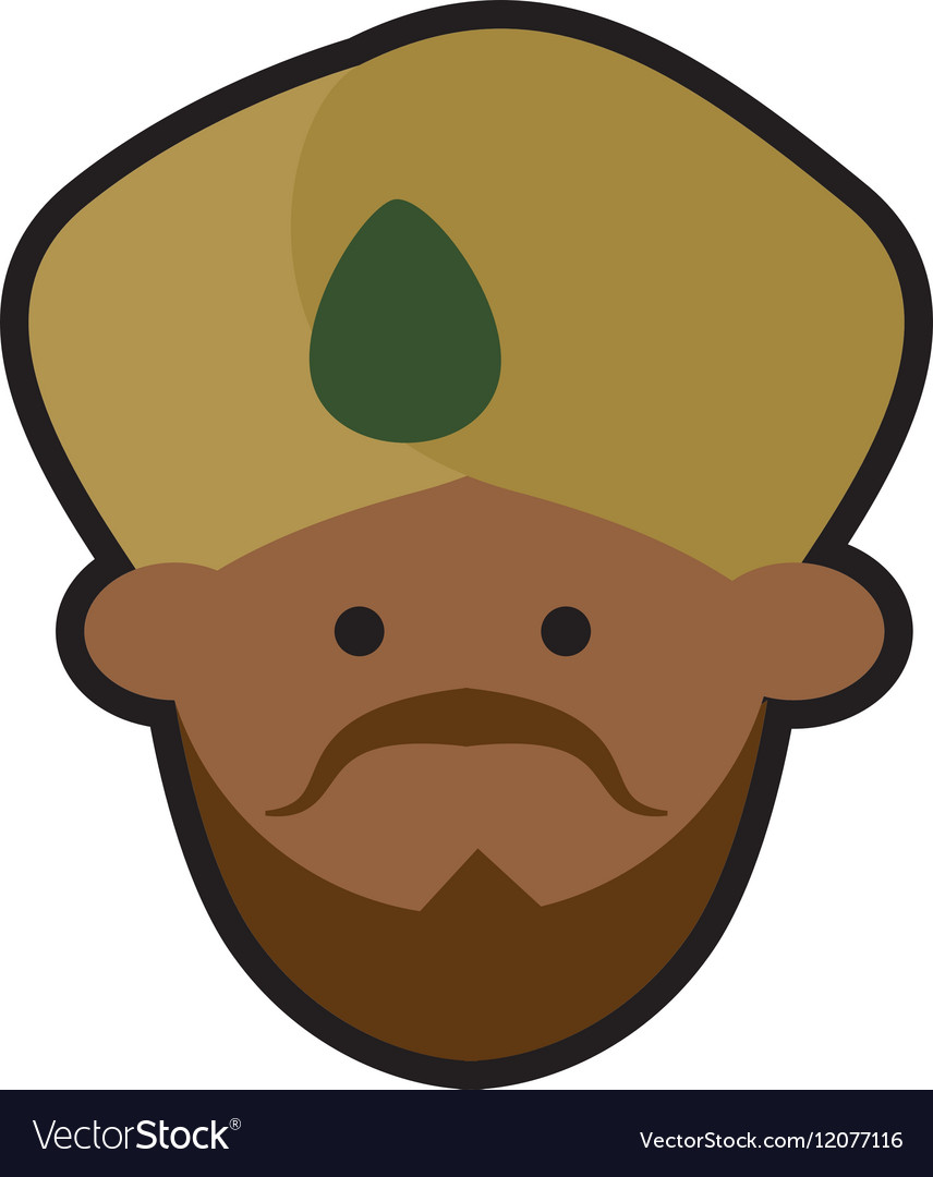 Cartoon face indian man turban