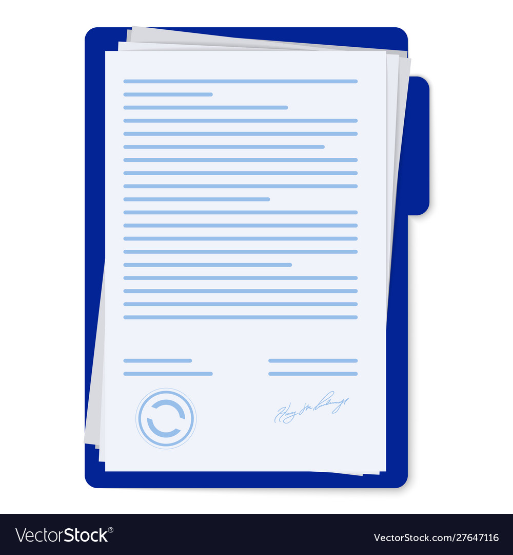 Contract papers document with signature and text