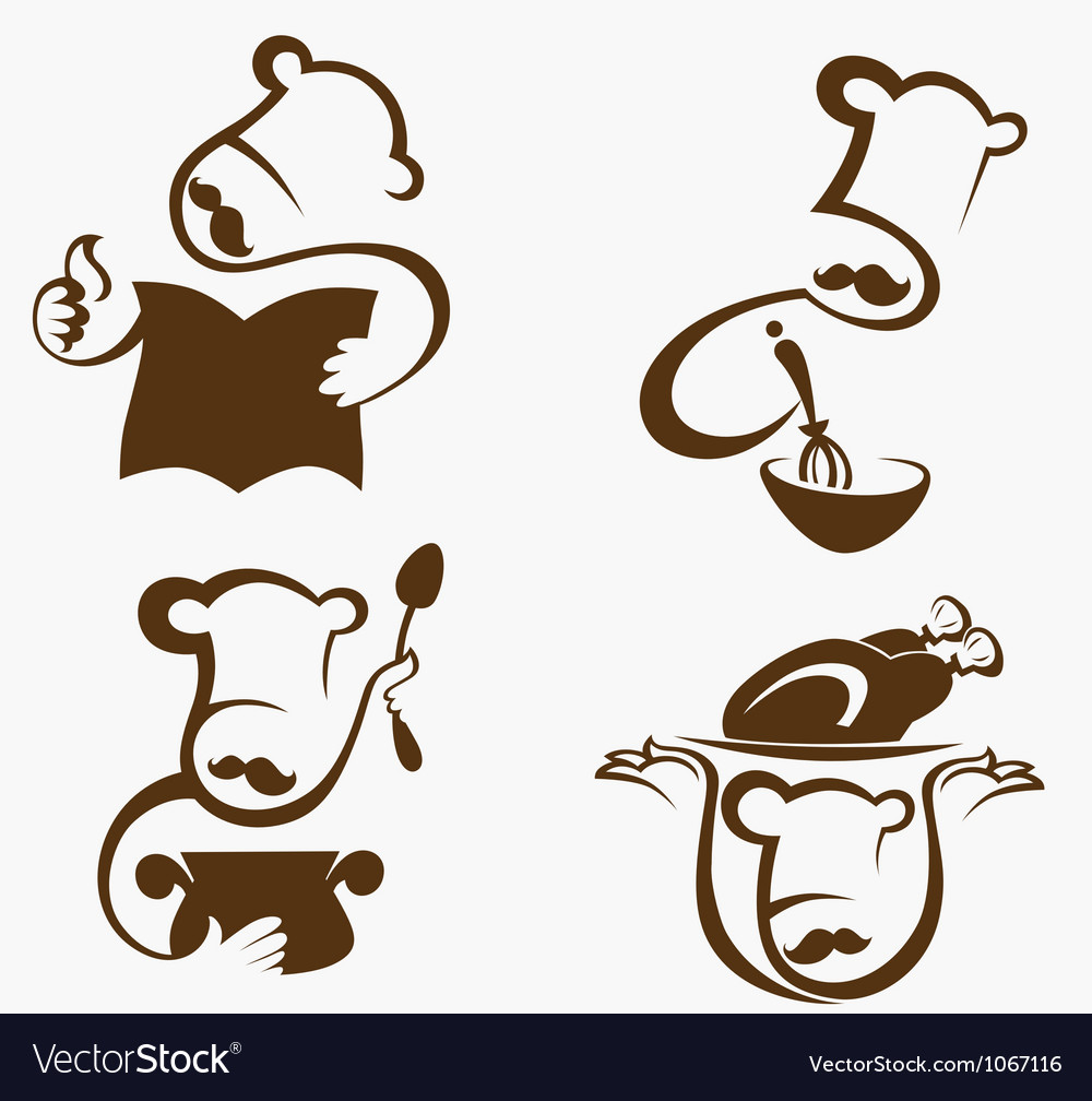 Cooking symbols and professionals emblems vector image