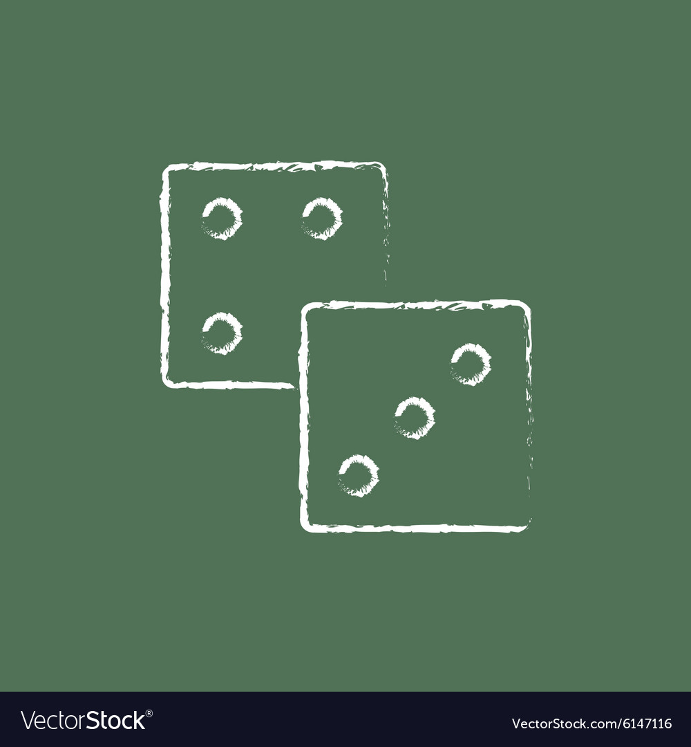 Dices icon drawn in chalk vector image