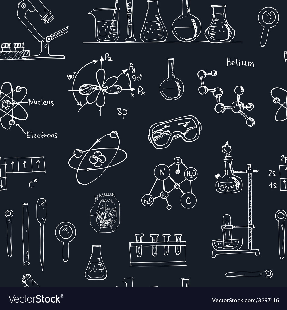 Doodle Science Lab Objects Seamless Pattern Back