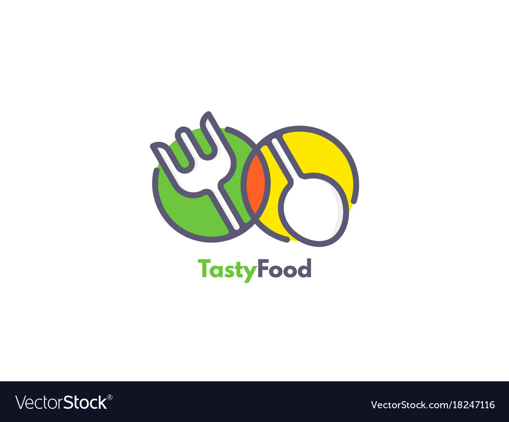 Food logo like icon fork and spoon inside circles