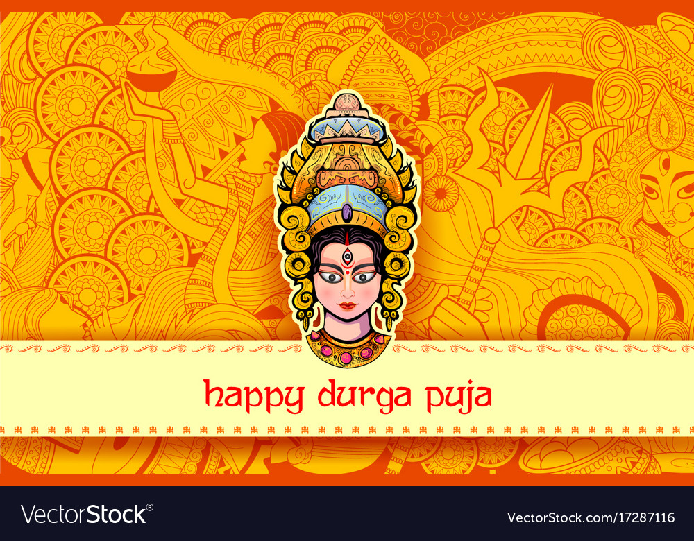Goddess durga face in happy durga puja background vector image