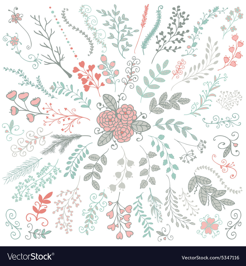 Hand Sketched Rustic Floral Doodle Branches