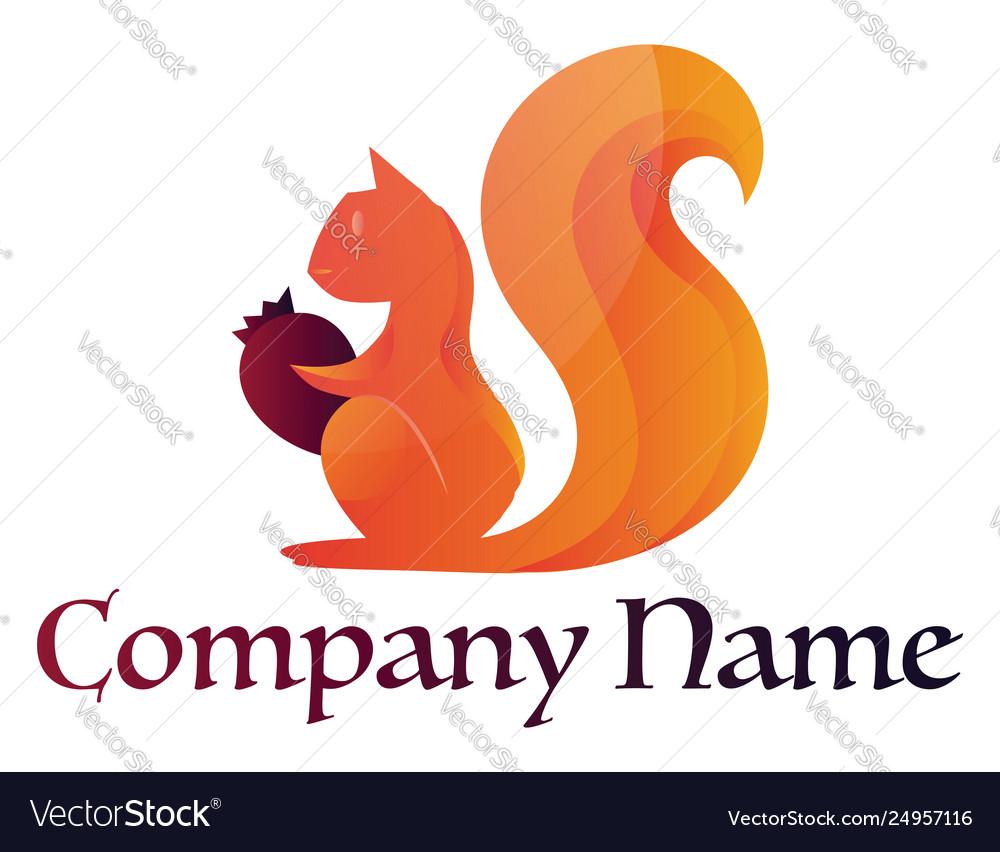 Logo a orange squirrel holding a nut on a