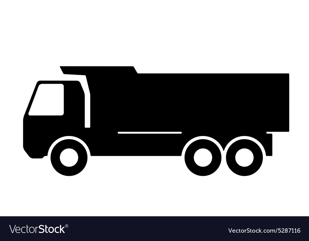 Silhouette of a dump truck on white background
