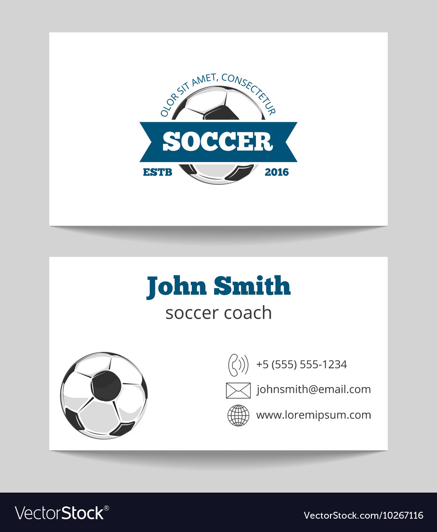 Soccer business card Royalty Free Vector Image