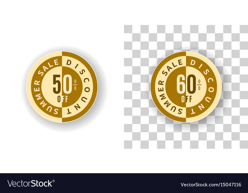 Summer sale sticker 50 and 60 percent discount vector image