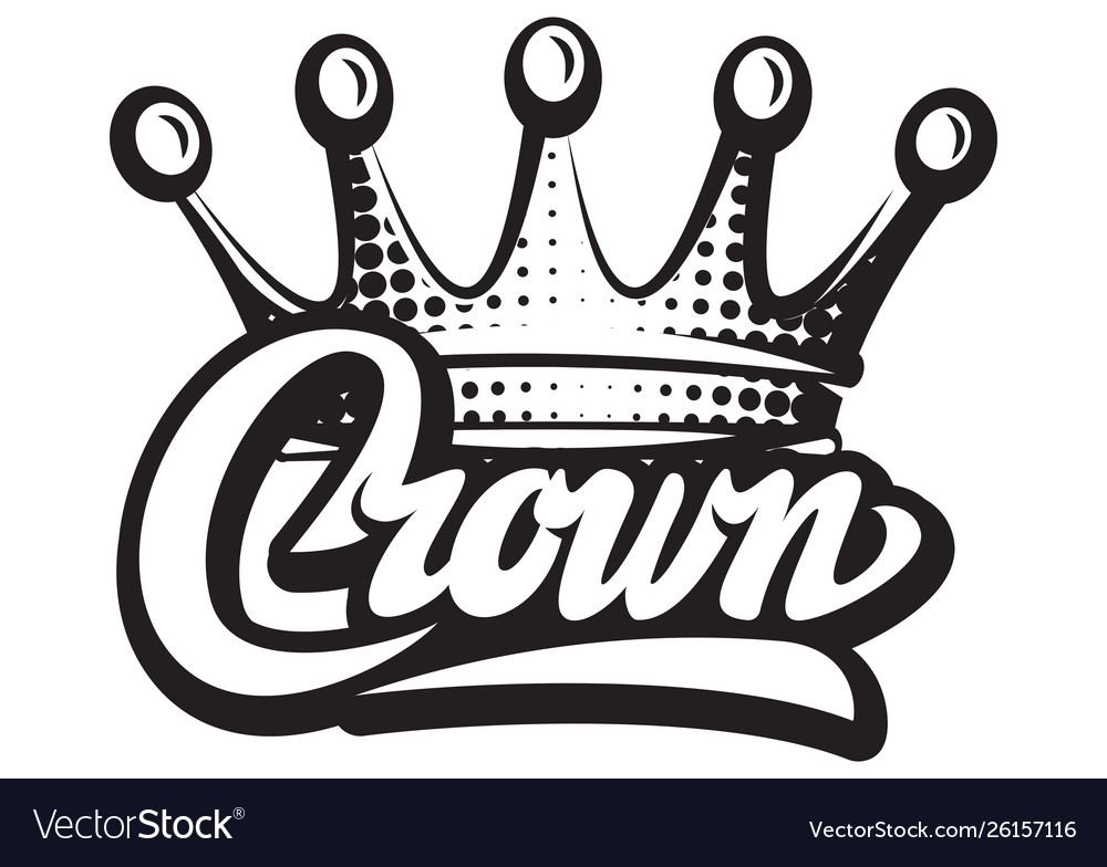 With crown and calligraphic