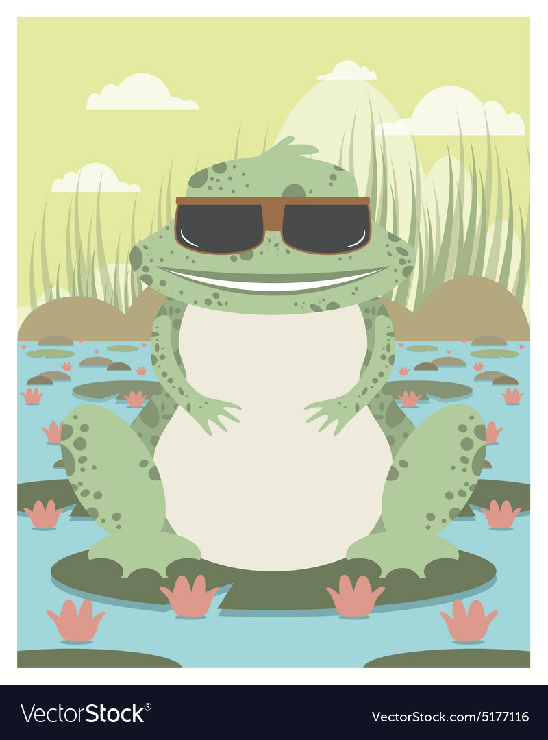 Xenopus with sunglasses in a pond