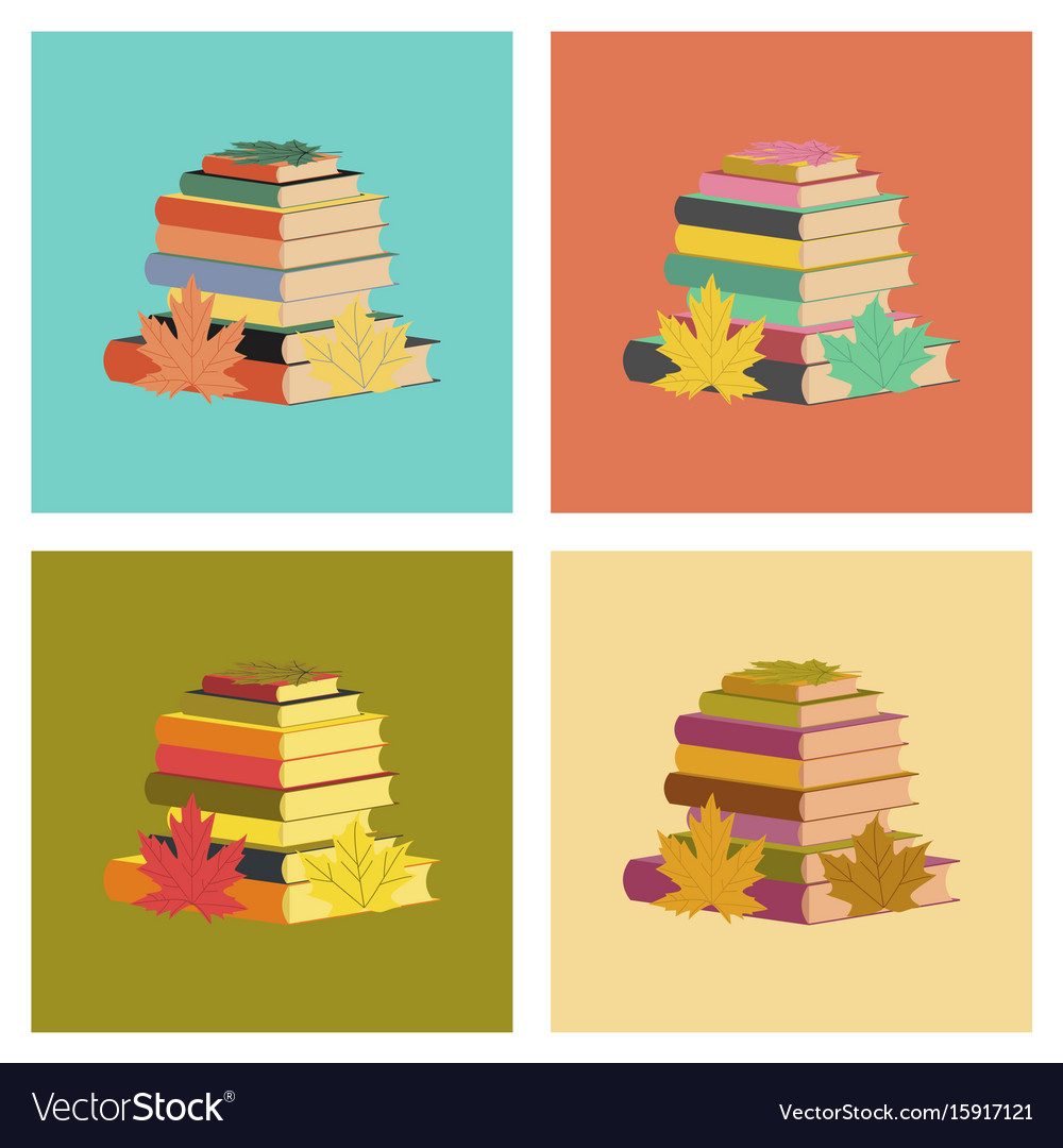 Assembly flat icons stack of books vector image