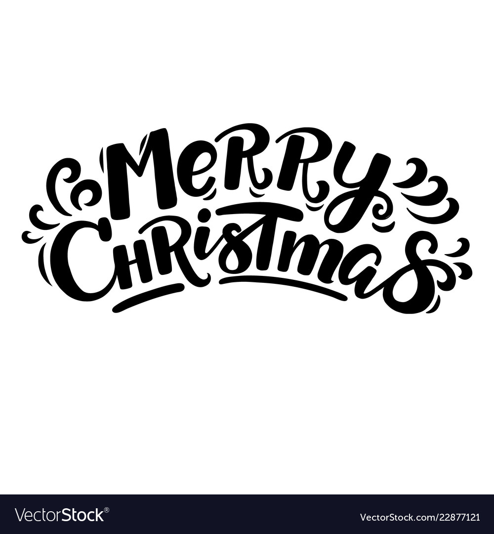 Christmas Lettering.Cartoon Style Funny Merry Christmas Lettering