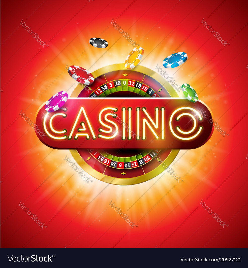 Casino with shiny neon light letter