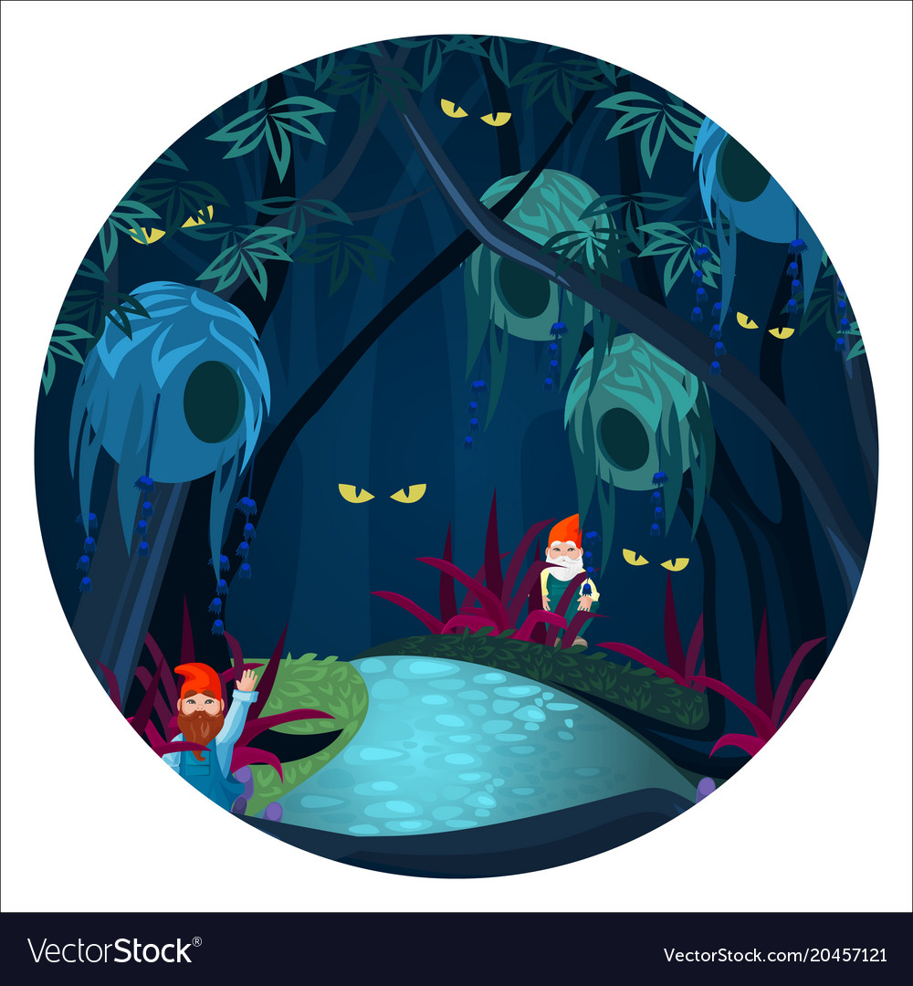 Enchanted forest with mysterious creatures ghosts