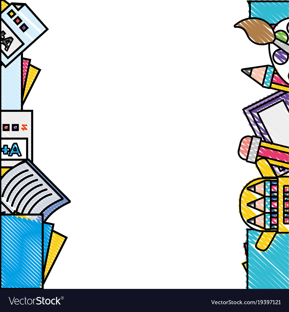 Grated school tools education background design Vector Image