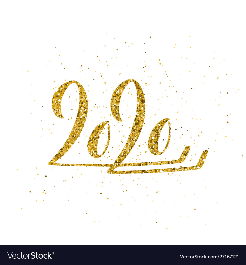Happy new year 2020 poster with hand drawn