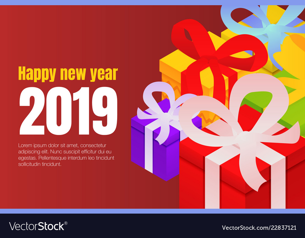 Happy new year gift boxes concept background