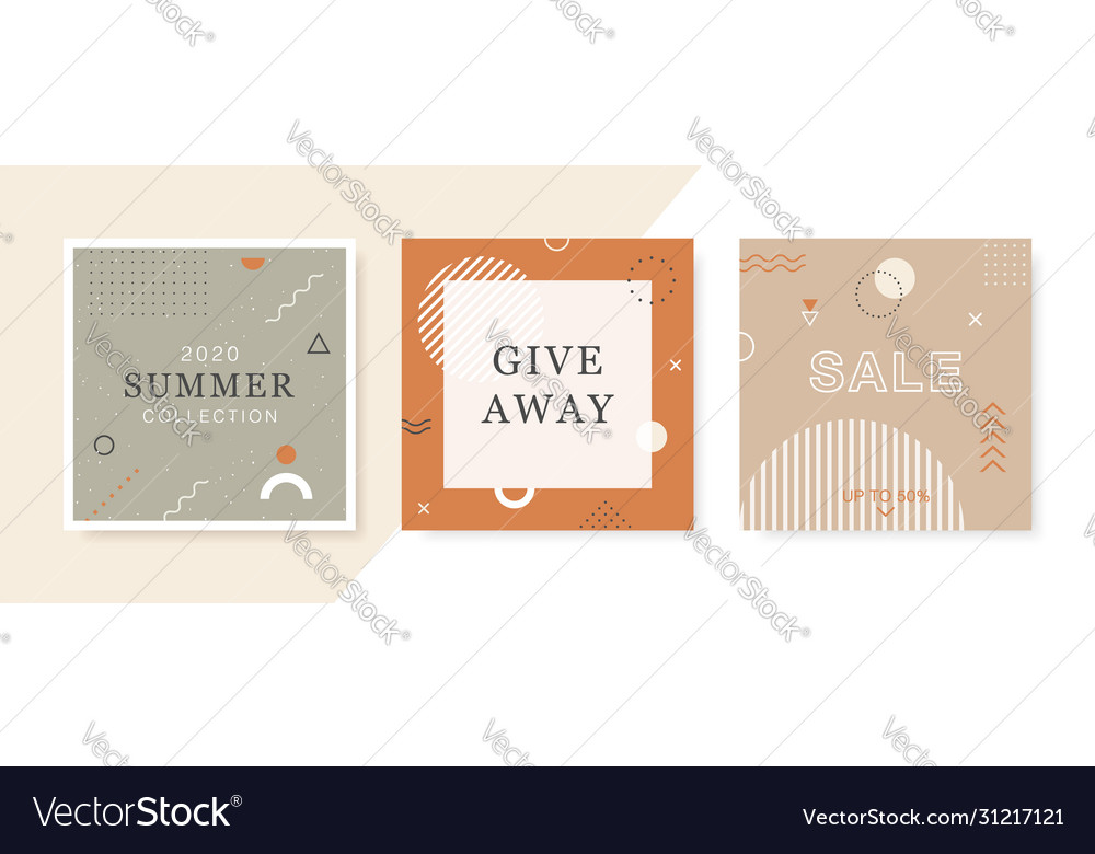 Modern promotion square web banners for social