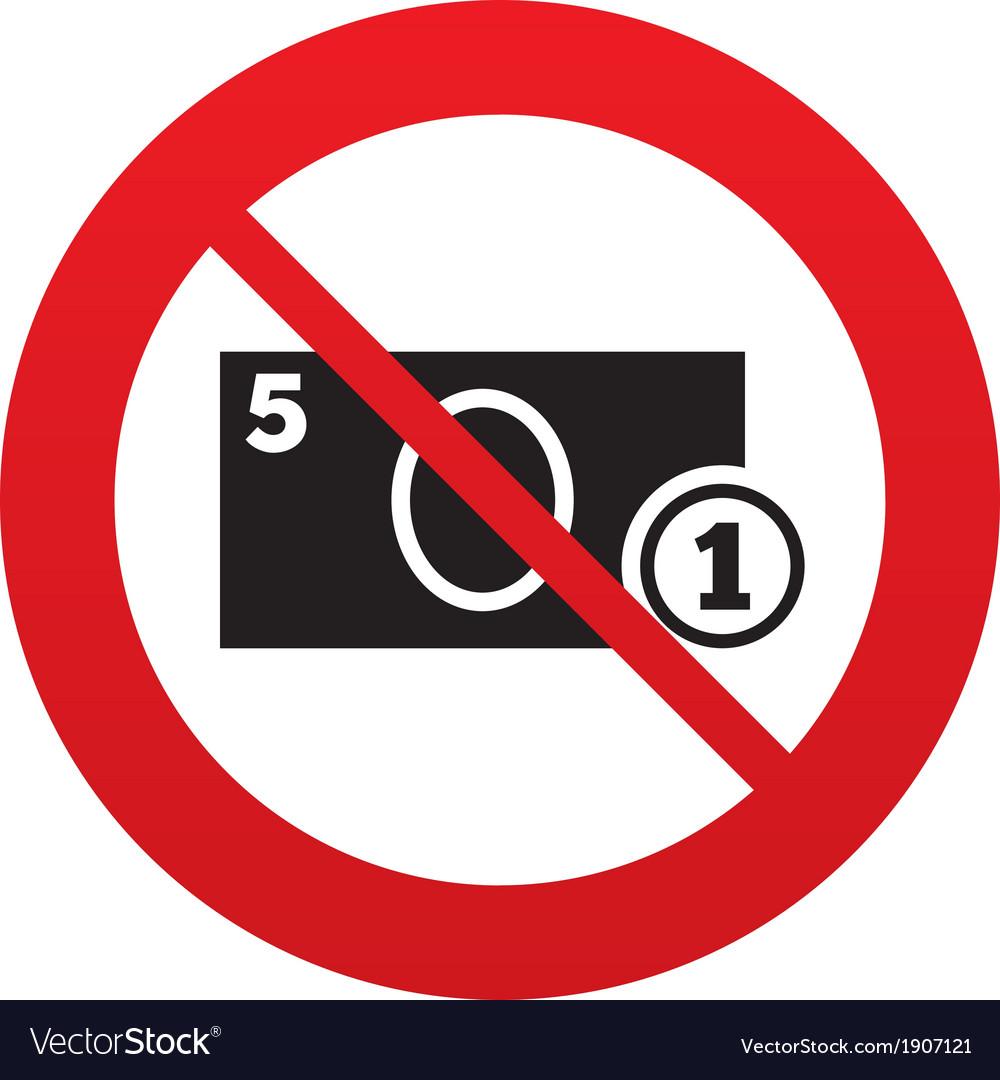 no cash sign icon money symbol coin royalty free vector