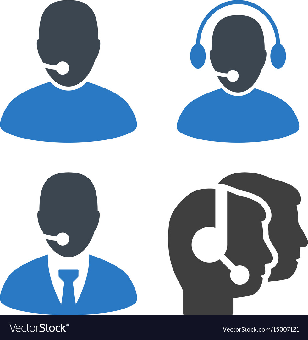 Online operator flat icons vector image