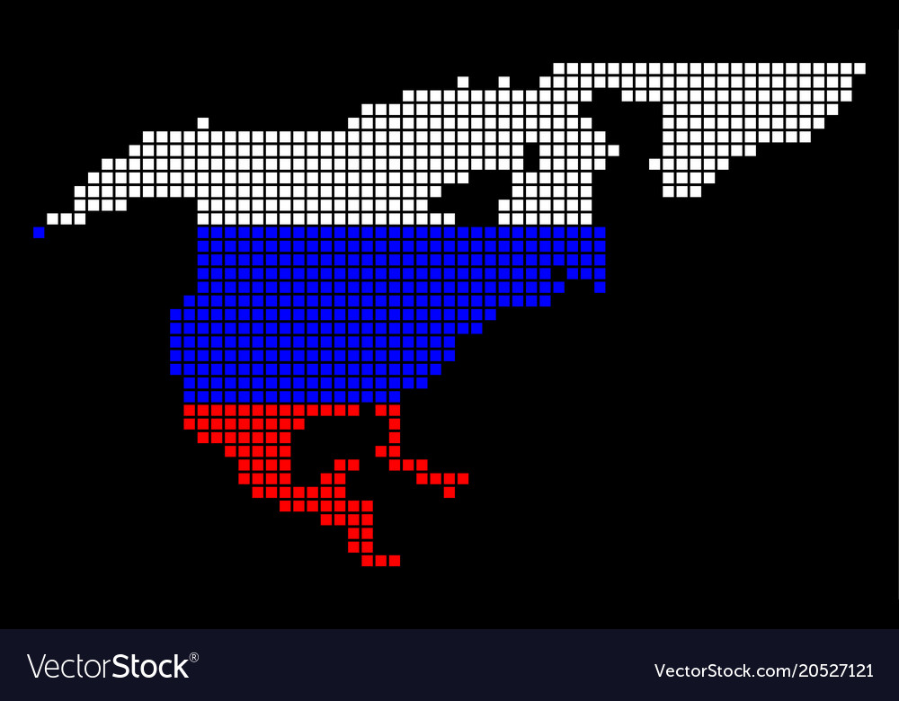 Russia colors dot north america map