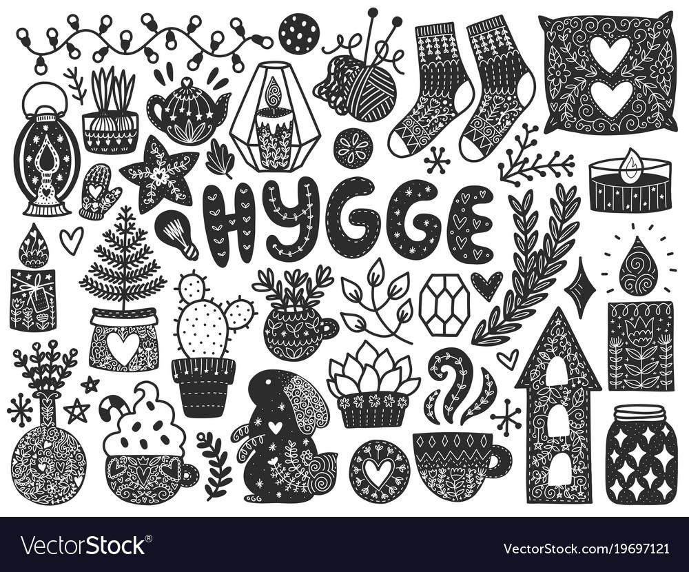 Scandinavian doodles elements