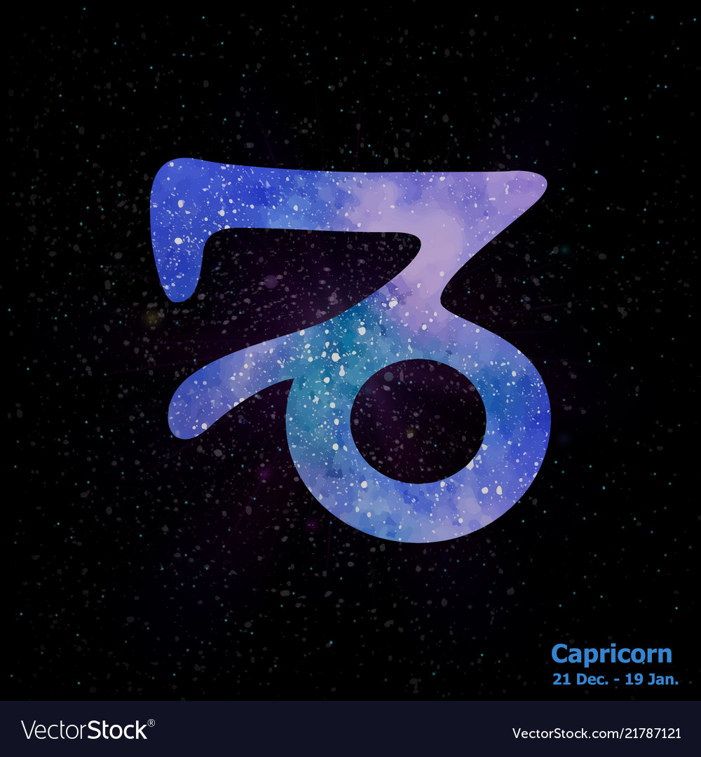 Watercolor Sign Of The Zodiac Capricorn On Star Vector Image