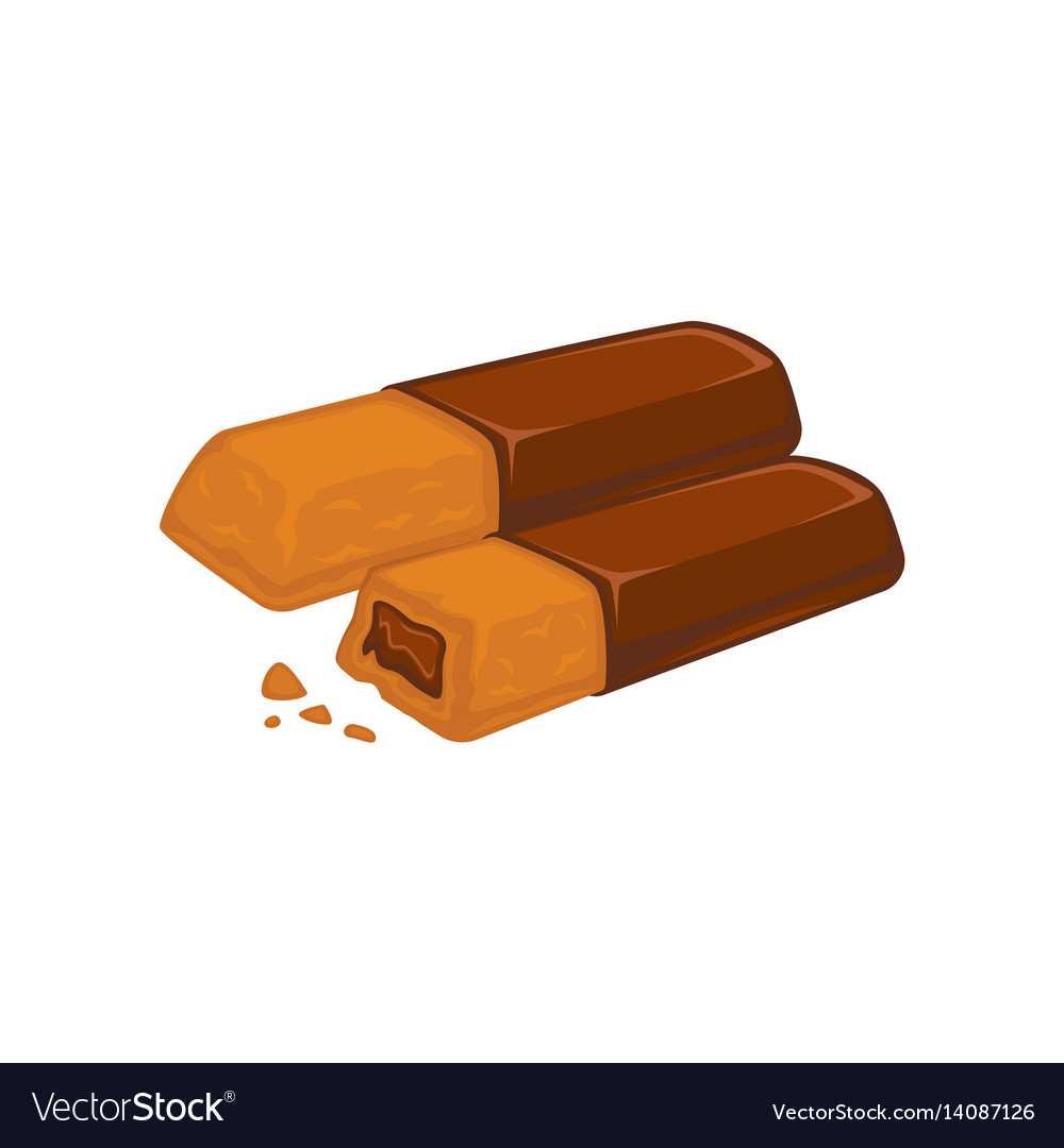 Bars of chocolate with biscuit inside stuffed with