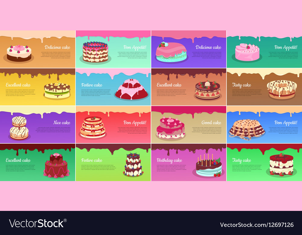 Collection of chocolate cakes greeting cards vector image m4hsunfo