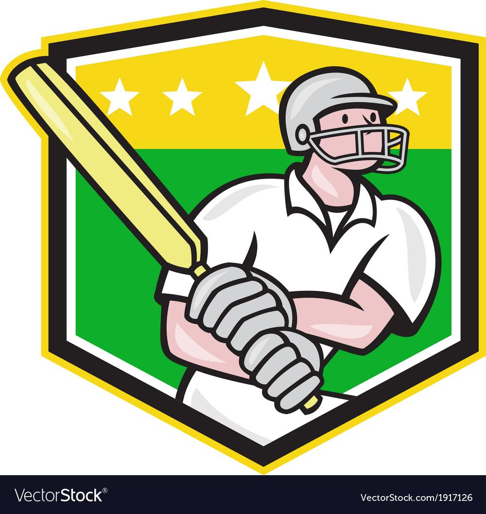 Cricket Player Batsman Batting Shield Star vector image
