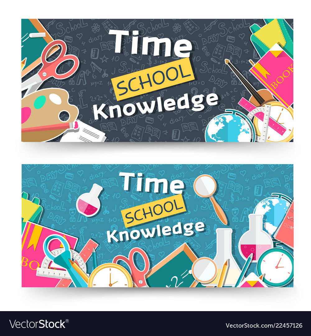 Flat back to school horizontal banners concept
