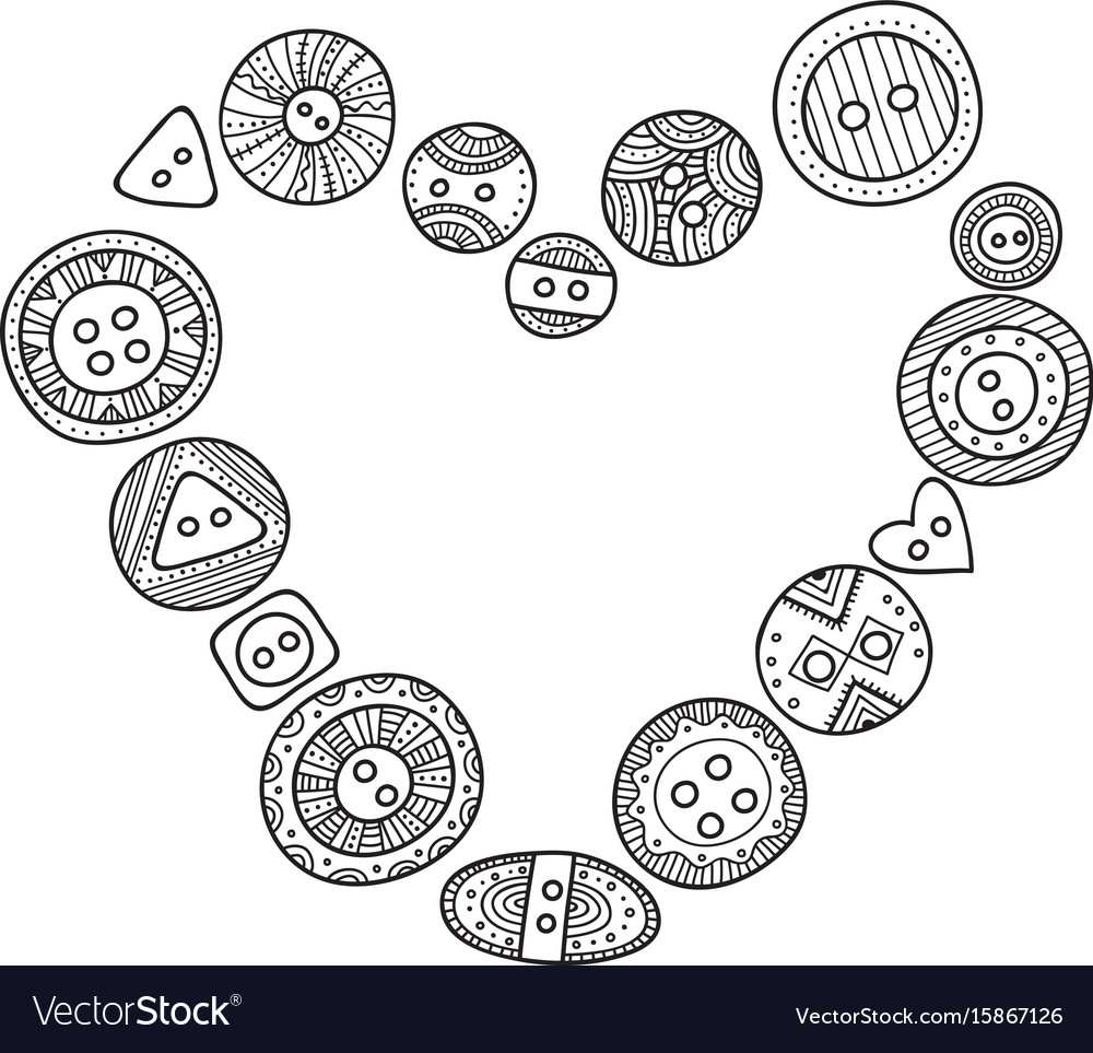 Heart frame with cloth buttons in boho style Vector Image