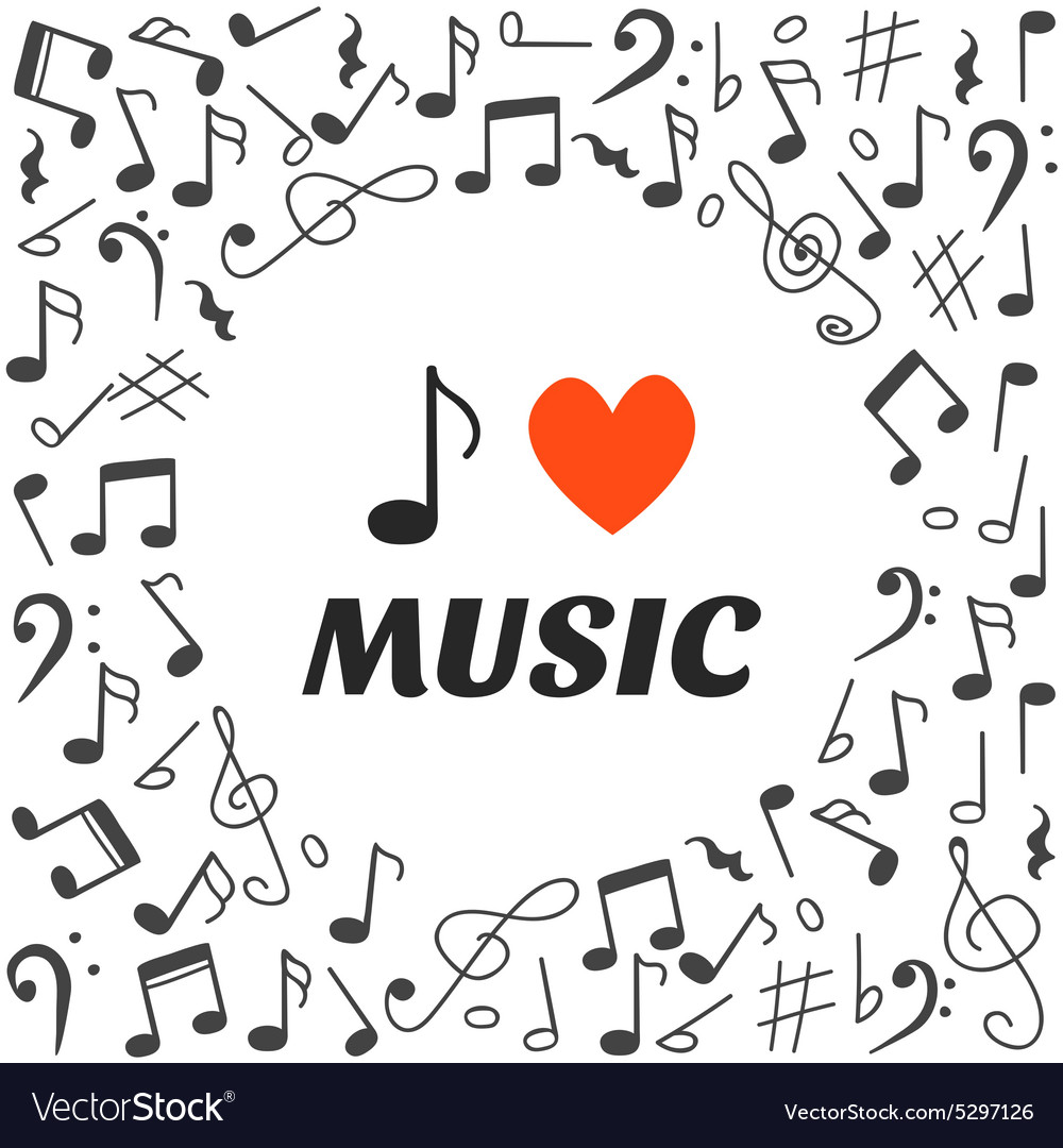 I love music Hand drawn music background