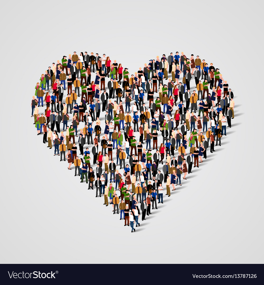 Large group of people in the heart sign shap