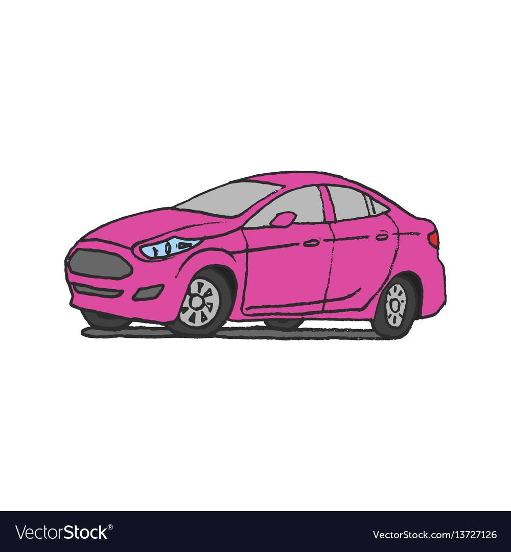 Pink car doodle vector image