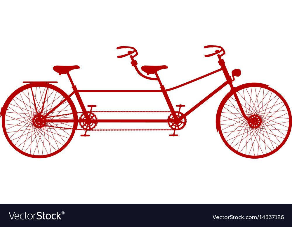 Retro tandem bicycle in red design
