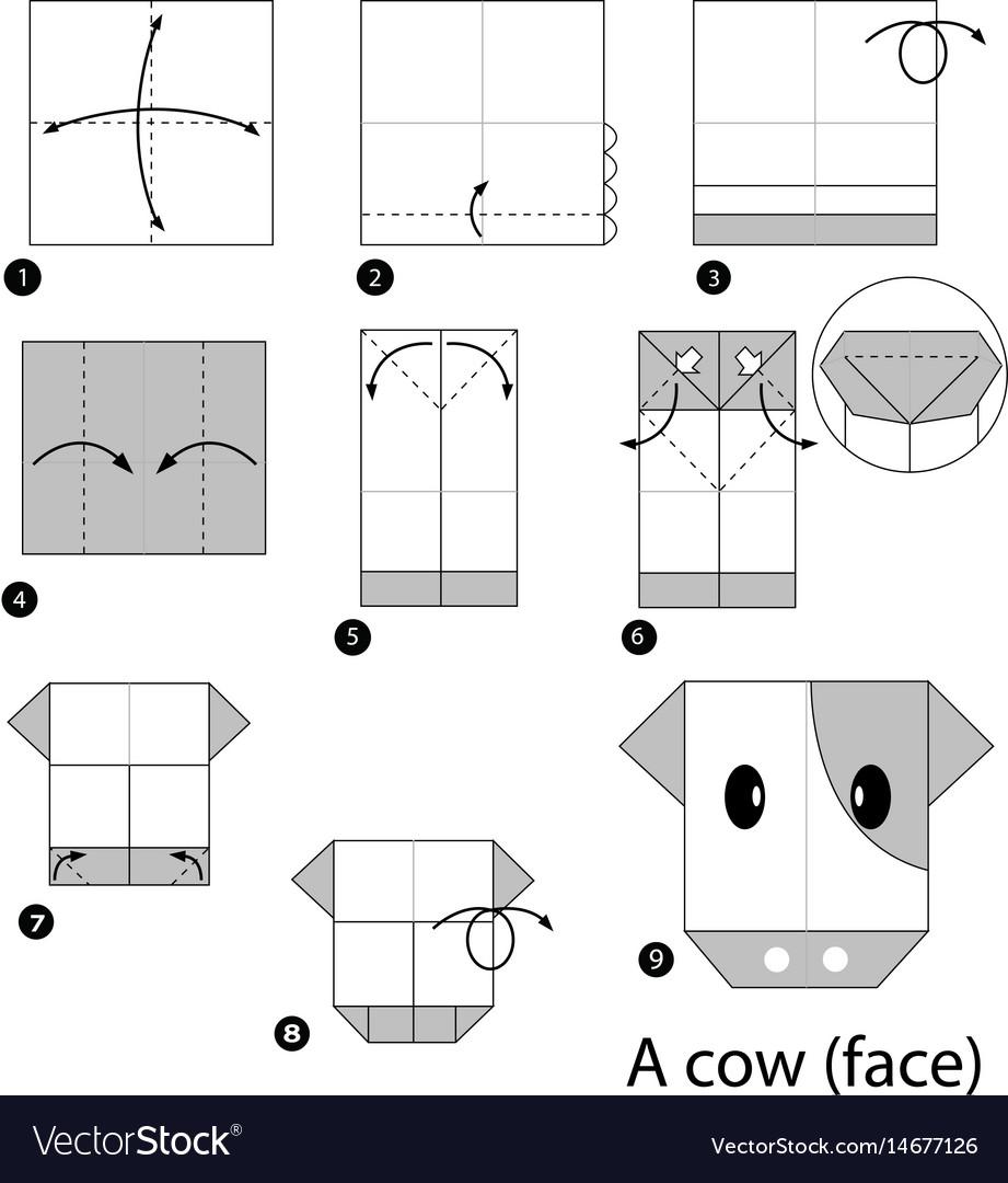 Cow (face) (mit Bildern) | Origami anleitungen, Origami, Origami-vögel | 1080x921