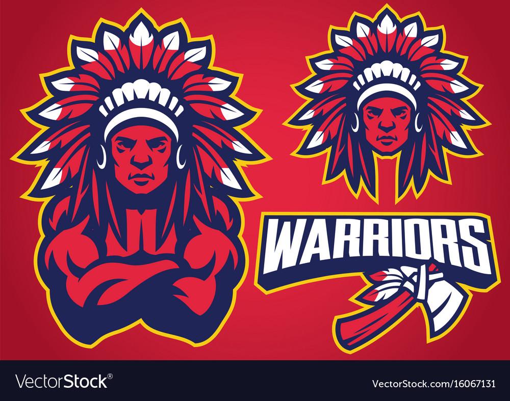 American native warrior vector image