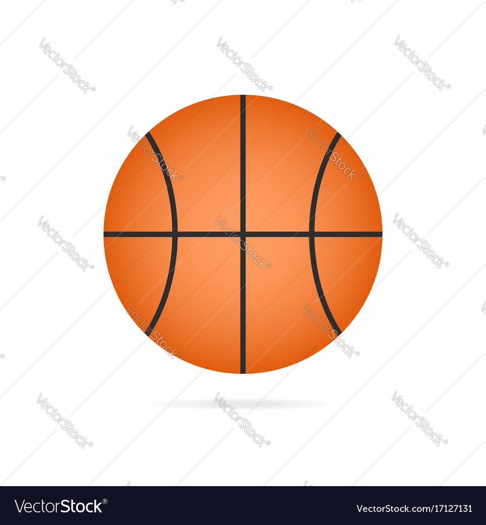 Basketball ball icon with shadow isolated on