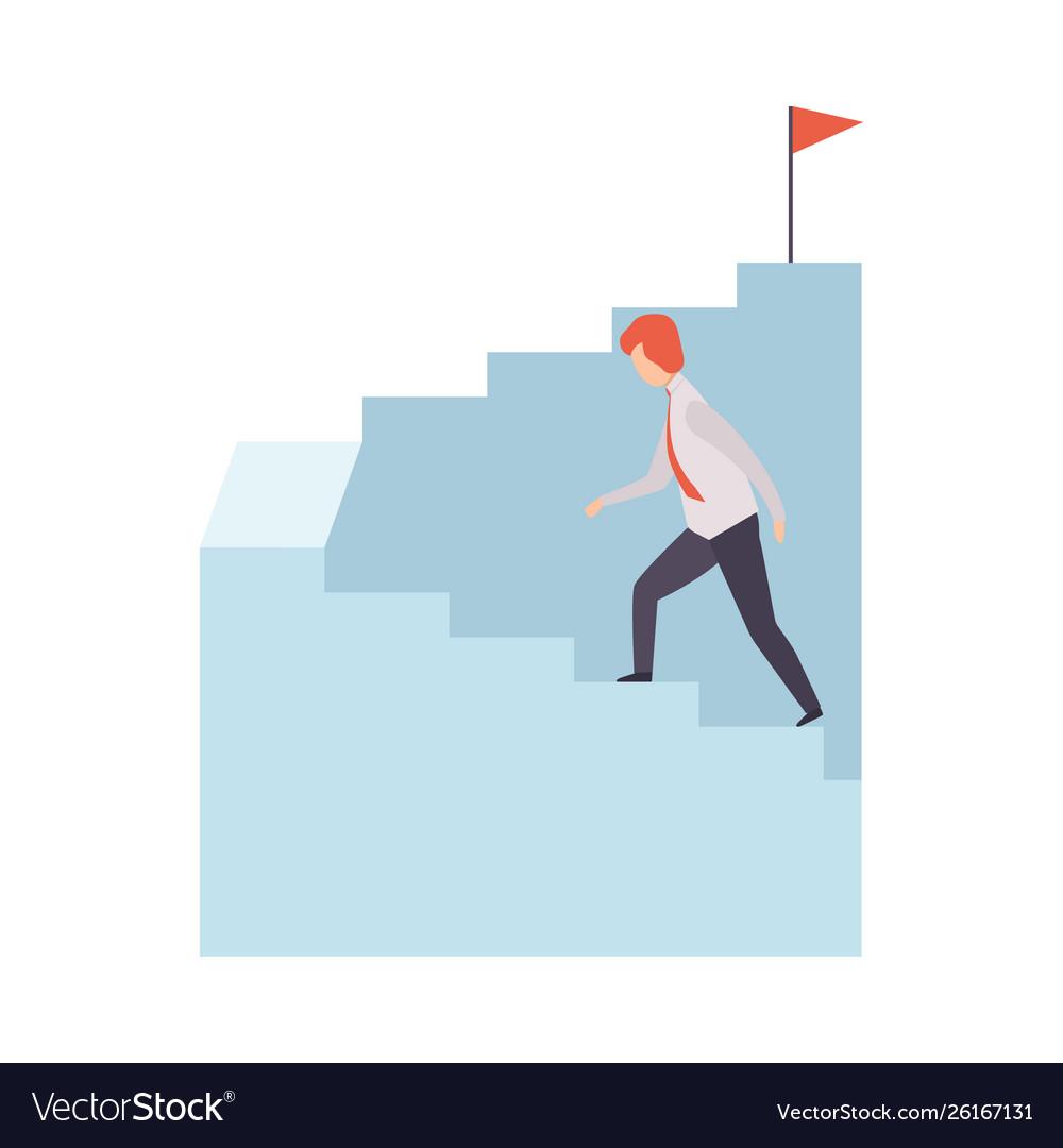 Businessman moving up career ladder to success
