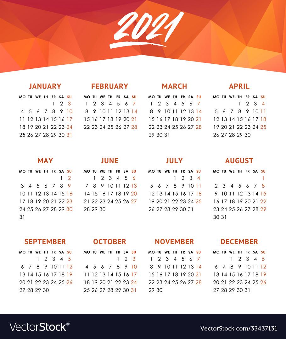 Calendar for 2021 year week starts monday