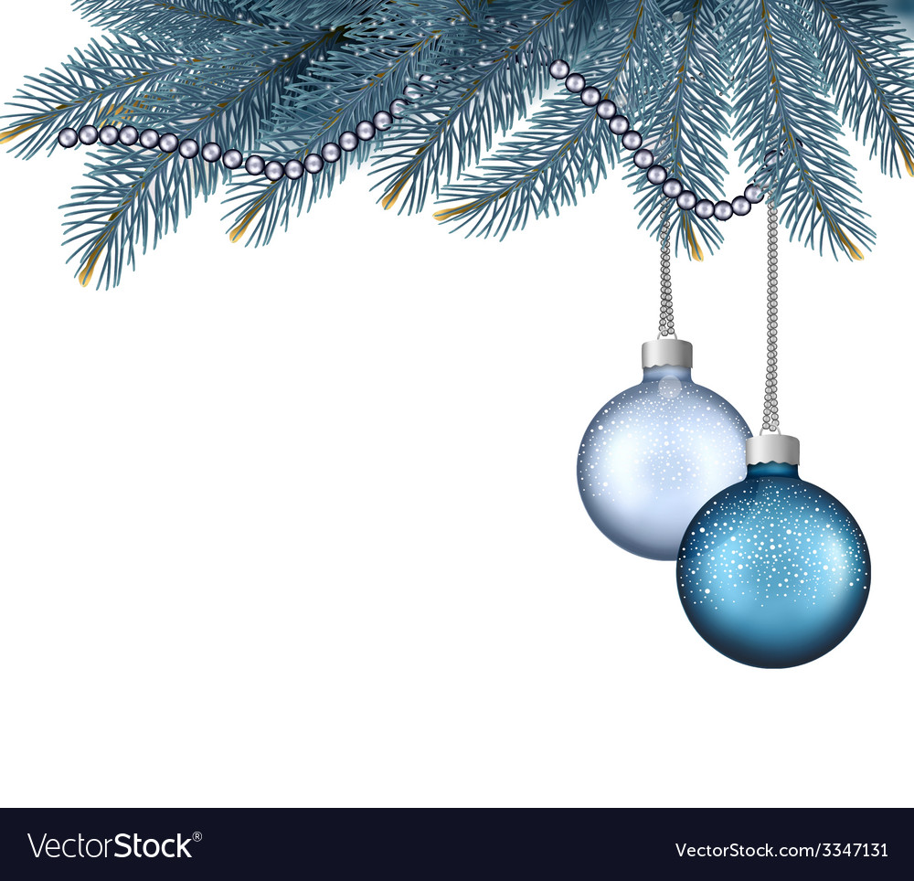 Christmas background with balls and branches