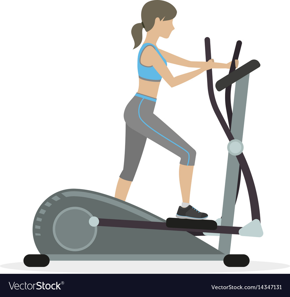 Fitness girl on the elliptical trainer vector image