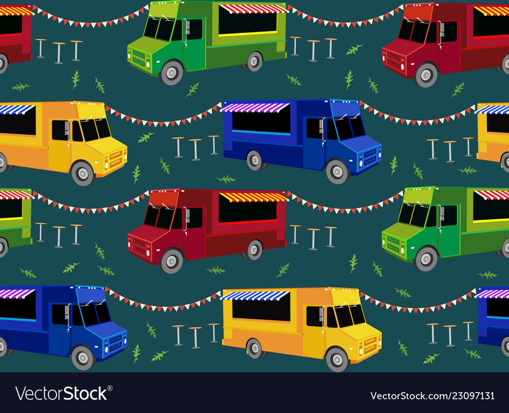 Food trucks seamless pattern people queue in