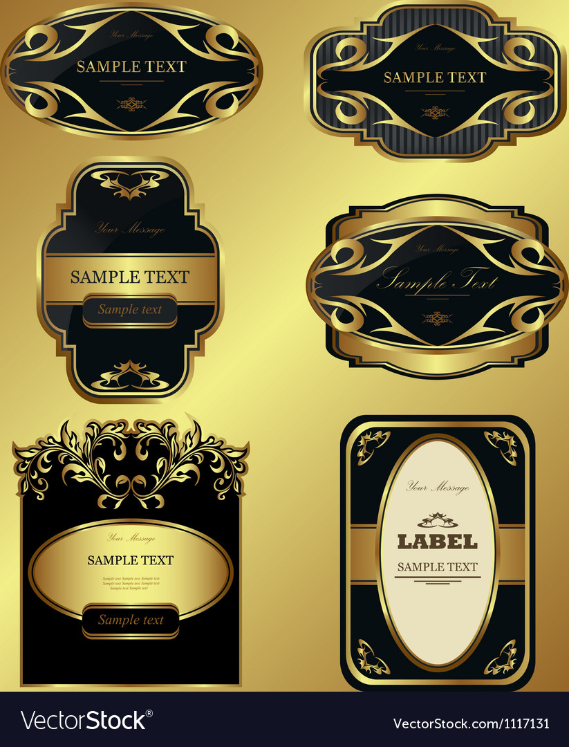 Gold-framed labels