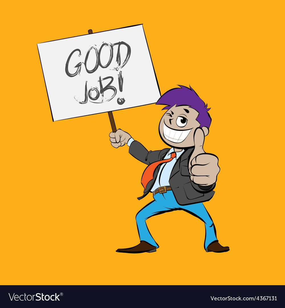 Happy Businessman Giving Thumbs Up Isolated on