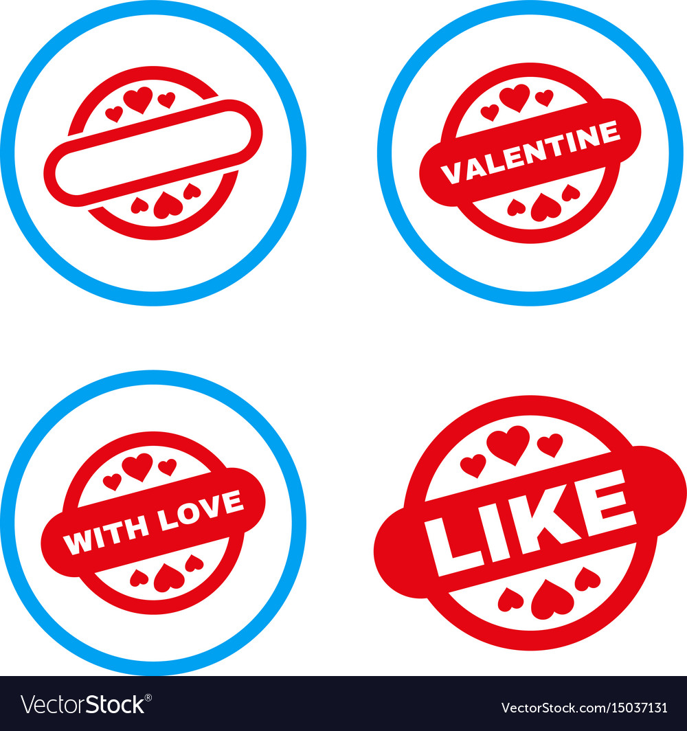 Lovely stamp seal rounded icons vector image
