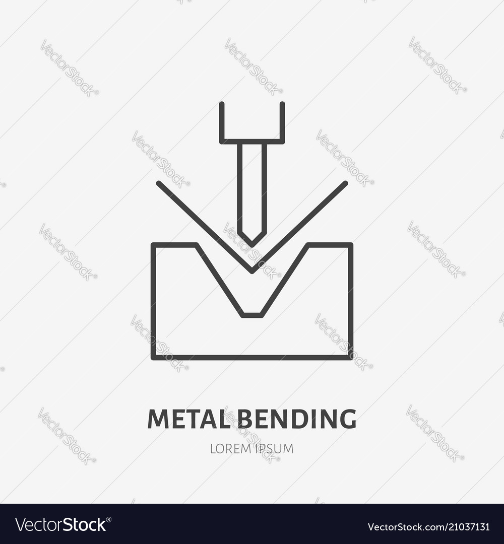 Metal Bending Flat Line Icon Iron Works Sign Vector Image